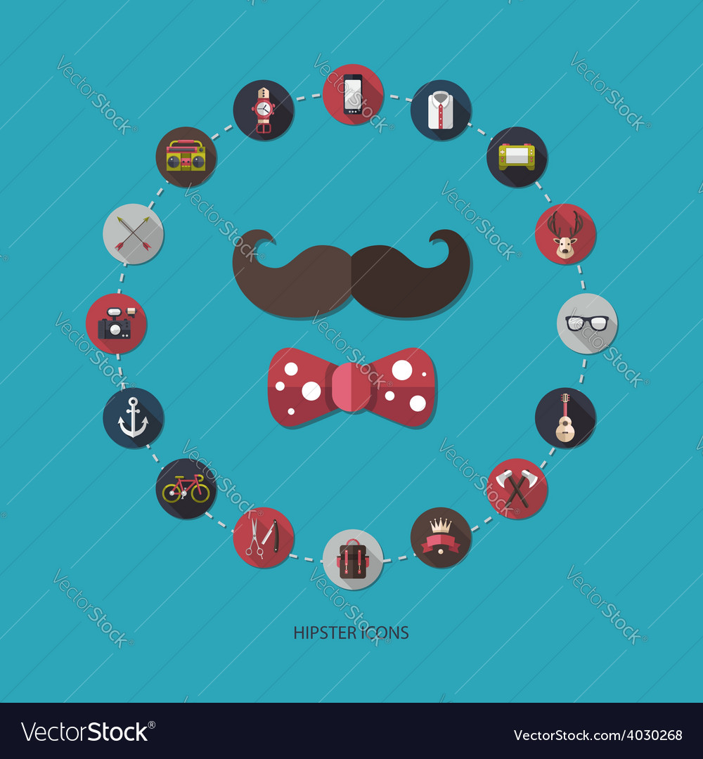 Set of modern flat design hipster icons vector | Price: 1 Credit (USD $1)
