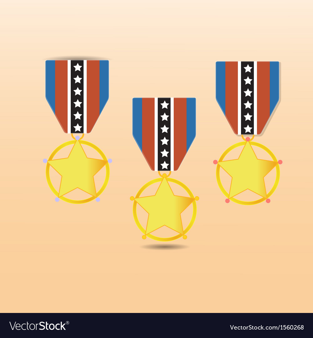 Star medal award with neck strap vector | Price: 1 Credit (USD $1)