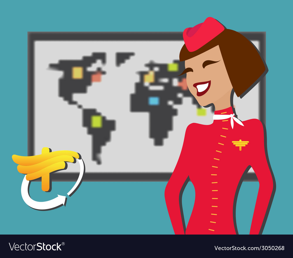 Stewardess welcomes aboard aircompany vector | Price: 1 Credit (USD $1)