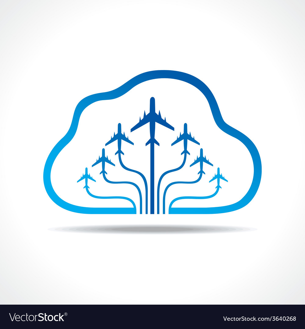 Tour and tourism icon with cloud vector | Price: 1 Credit (USD $1)