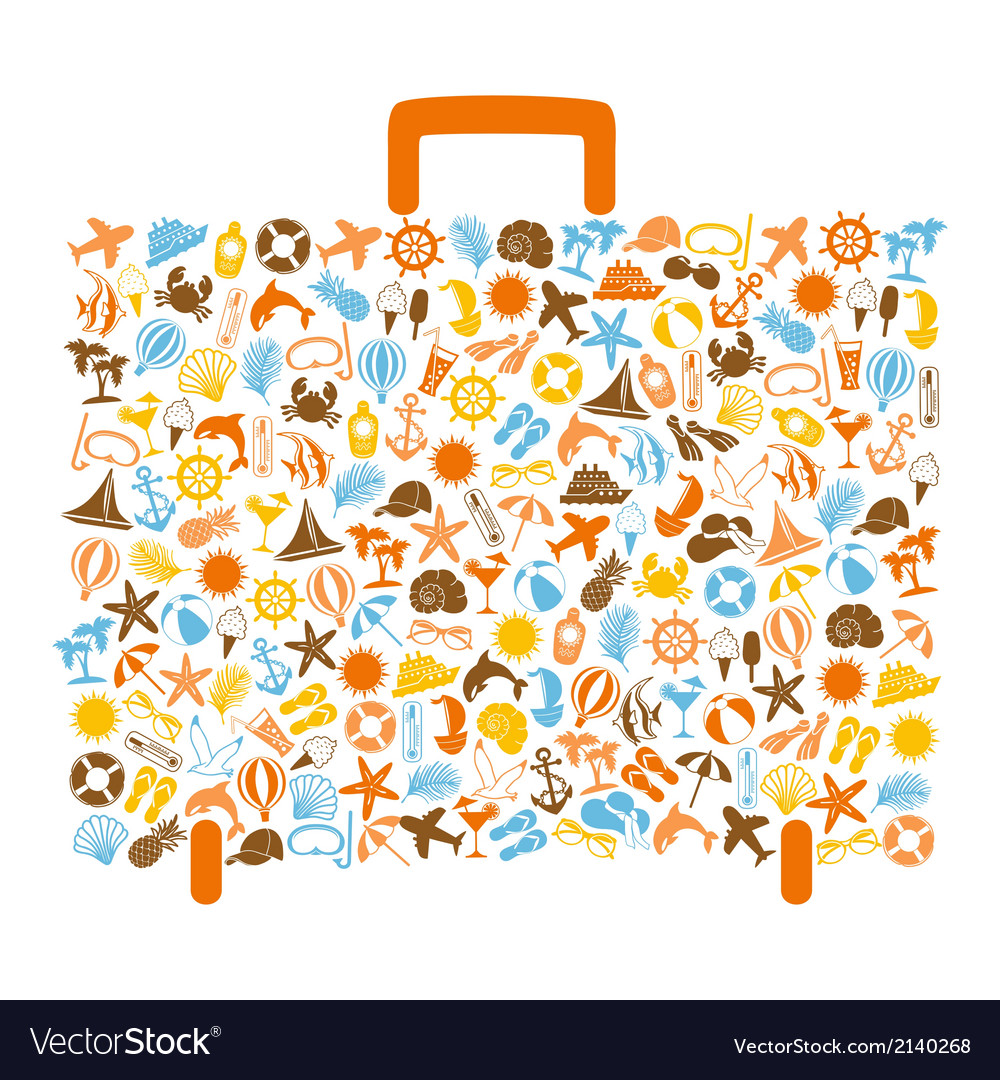 Travel bag consisting of summer icons vector | Price: 1 Credit (USD $1)
