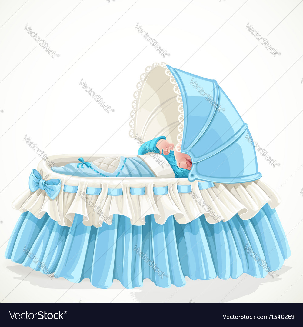 Baby in blue cradle isolated on white background vector | Price: 1 Credit (USD $1)