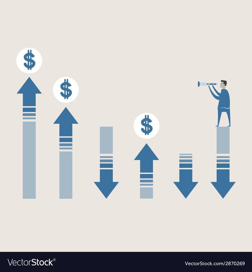 Business man use binnocular forecasting g vector | Price: 1 Credit (USD $1)