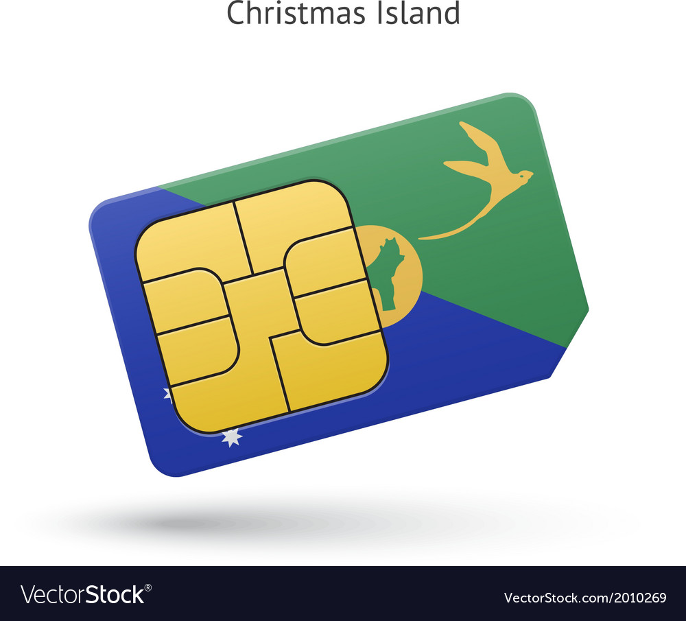Christmas island mobile phone sim card with flag vector | Price: 1 Credit (USD $1)
