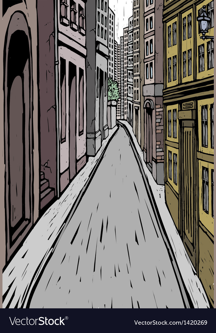 City street alley scene vector | Price: 1 Credit (USD $1)