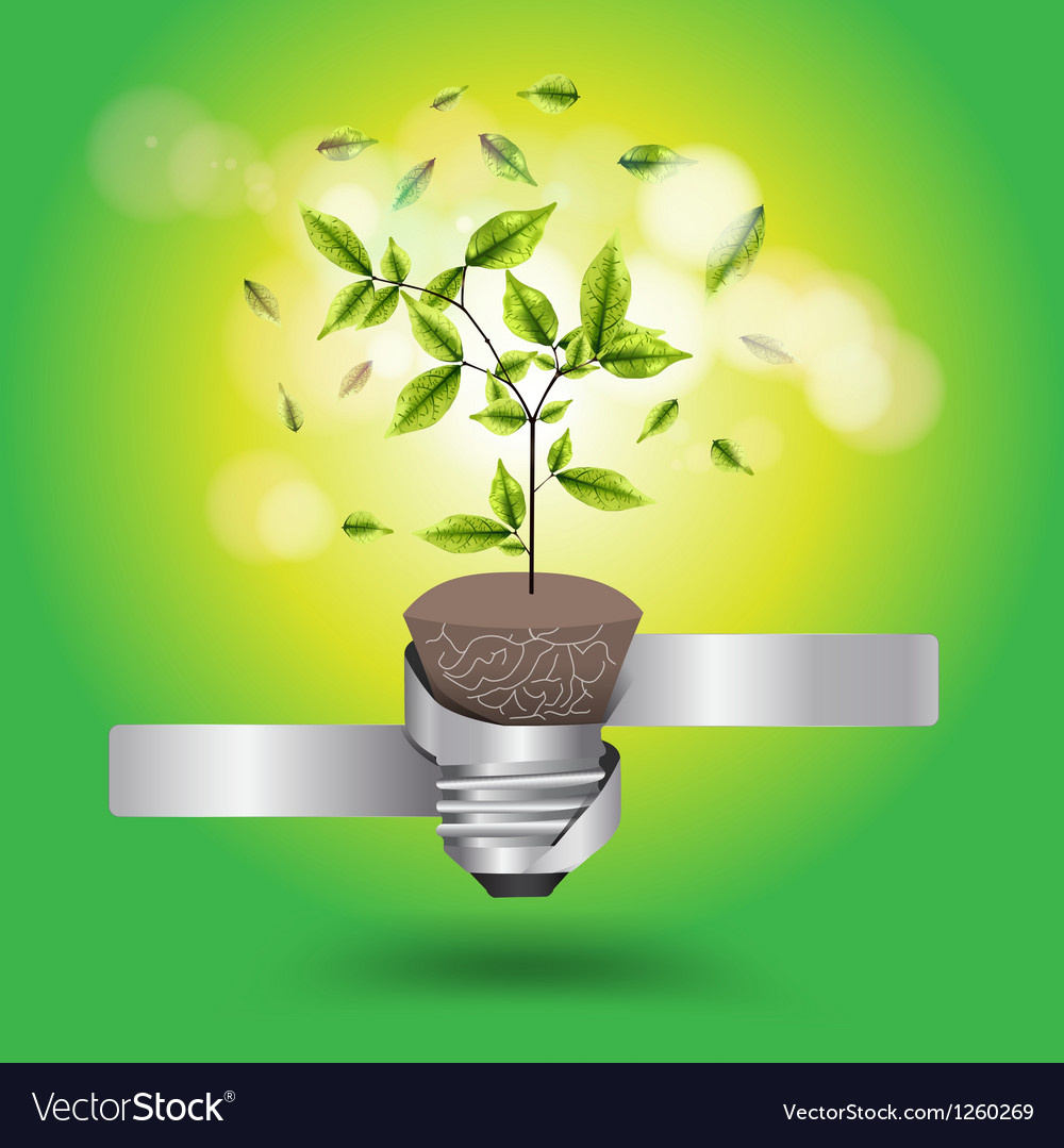 Creative light bulb tree growth concept vector | Price: 1 Credit (USD $1)