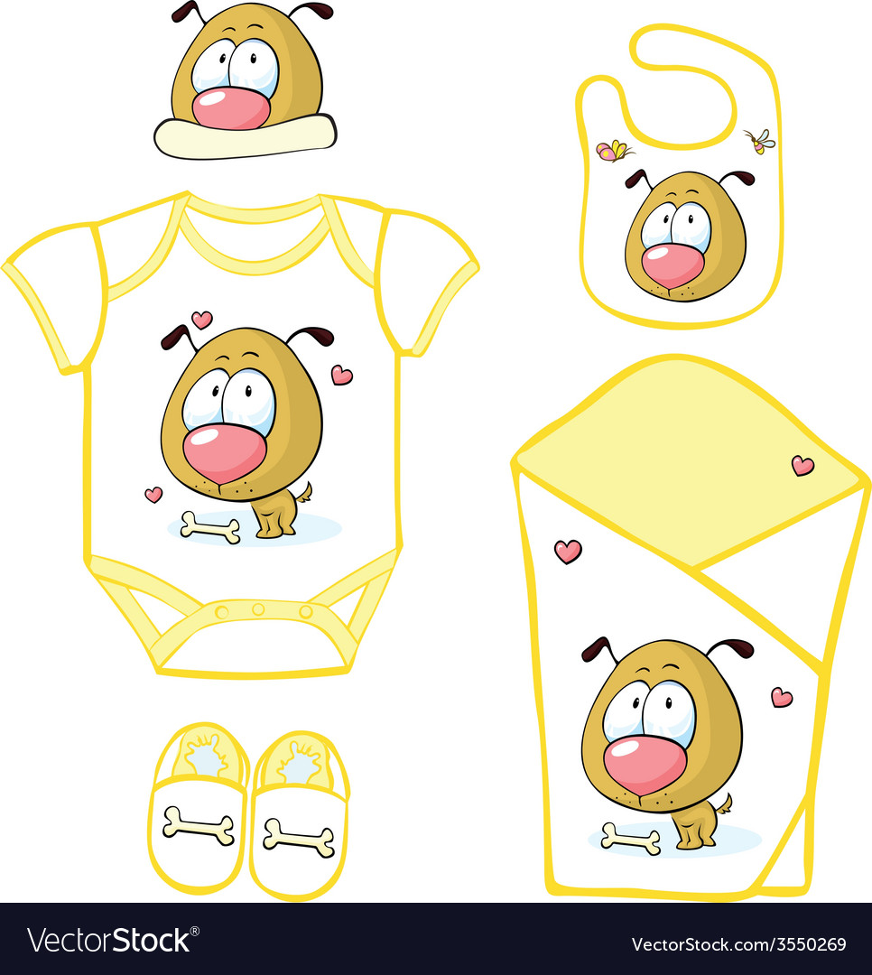 Cute baby layette with puppy and butterfly - vector | Price: 1 Credit (USD $1)
