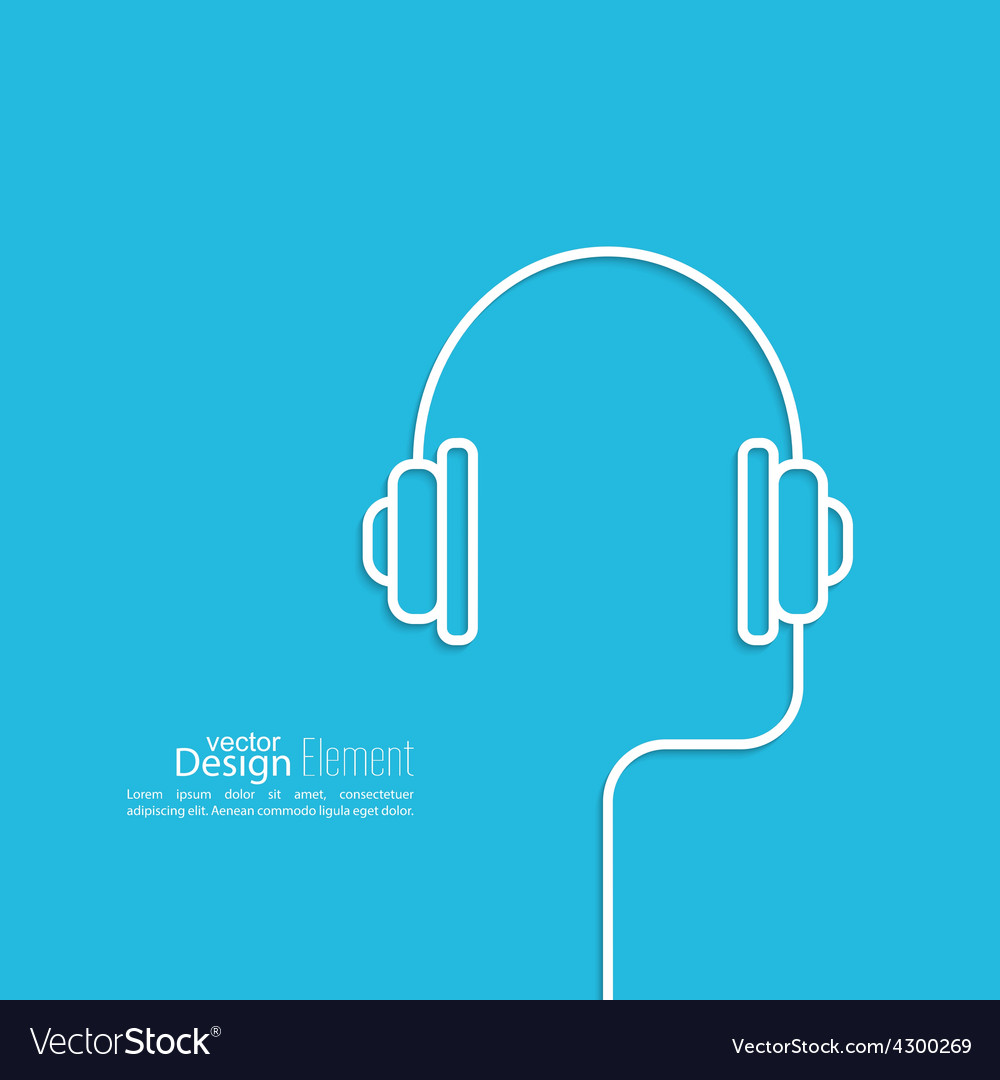 Headphones with a wire vector | Price: 1 Credit (USD $1)