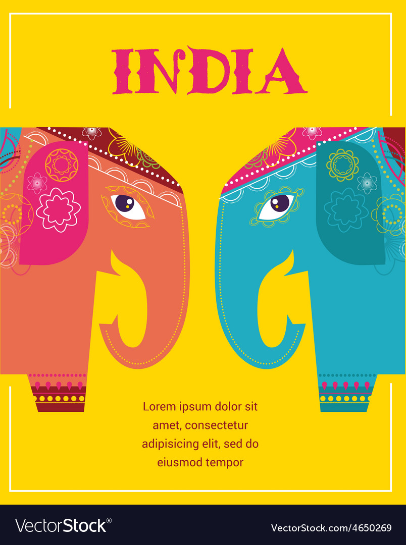 India - background with patterned elephants vector | Price: 1 Credit (USD $1)