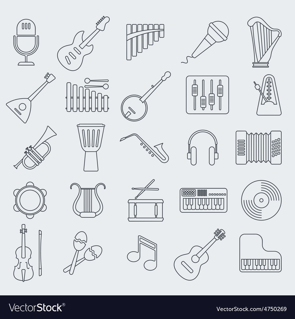 Musical instrument line icon vector