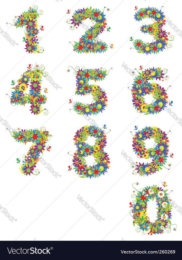 Numbers floral design vector | Price: 1 Credit (USD $1)
