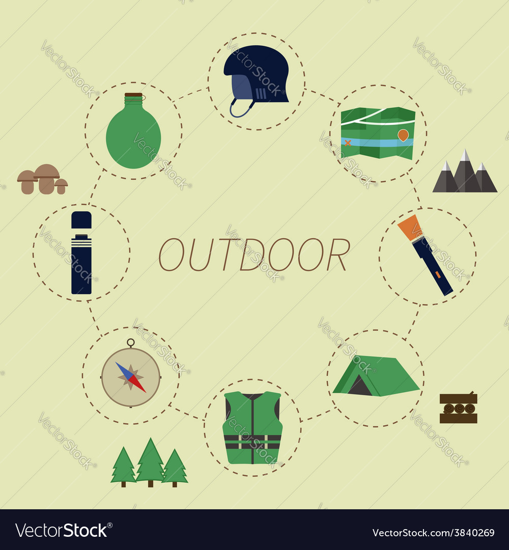 Outdoor infographics camping lifestyle unusual vector | Price: 1 Credit (USD $1)