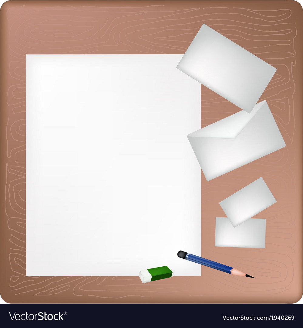 Pencil and eraser lying on a blank page vector | Price: 1 Credit (USD $1)
