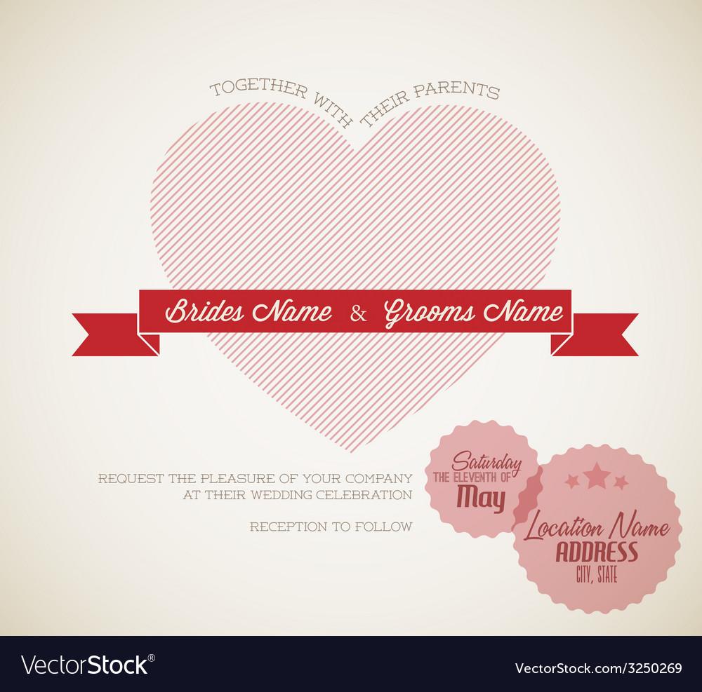 Retro wedding invitation vector | Price: 1 Credit (USD $1)
