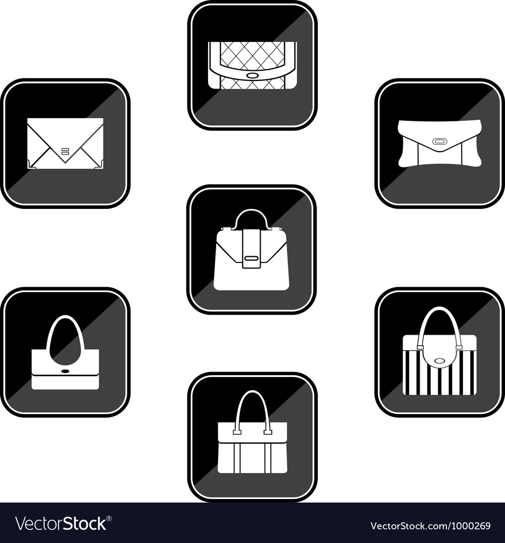 Set of black icons with bags vector | Price: 1 Credit (USD $1)