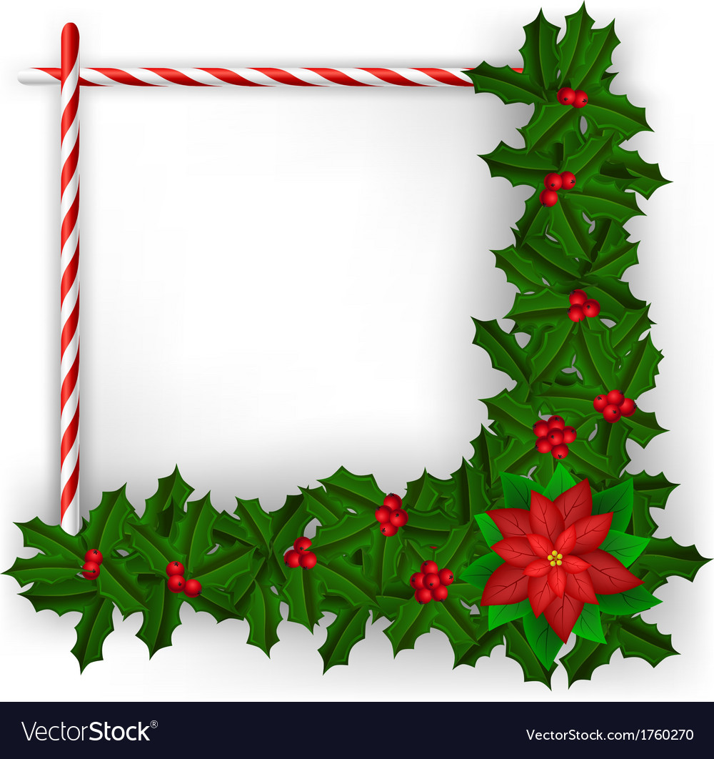 Christmas frame with holly branch and candy vector | Price: 1 Credit (USD $1)