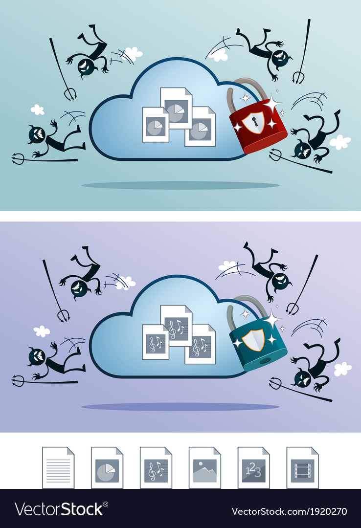 Cloud storage protected from computer virus vector | Price: 1 Credit (USD $1)