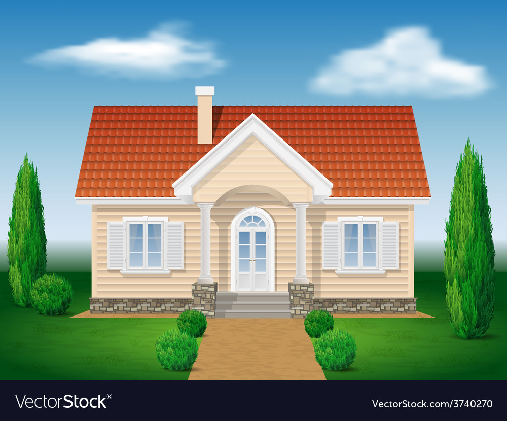 Cottage house with the environment vector | Price: 1 Credit (USD $1)