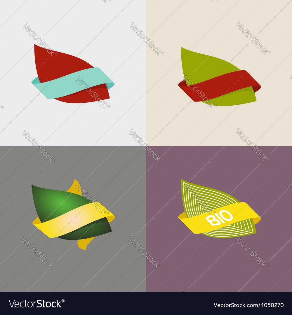 Eco logo natural and organic symbols setlleaves vector | Price: 1 Credit (USD $1)