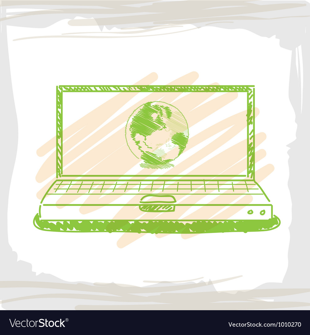 Handwriting sketch wolrd inside green computer vector | Price: 1 Credit (USD $1)