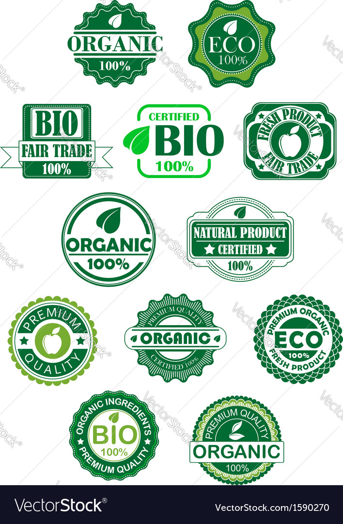 Natural and bio labels vector | Price: 1 Credit (USD $1)