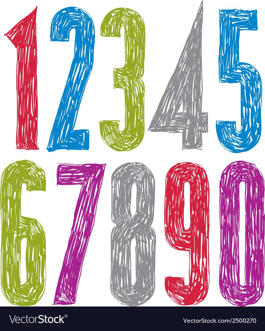 Stylish digits handwritten numerals vector | Price: 1 Credit (USD $1)