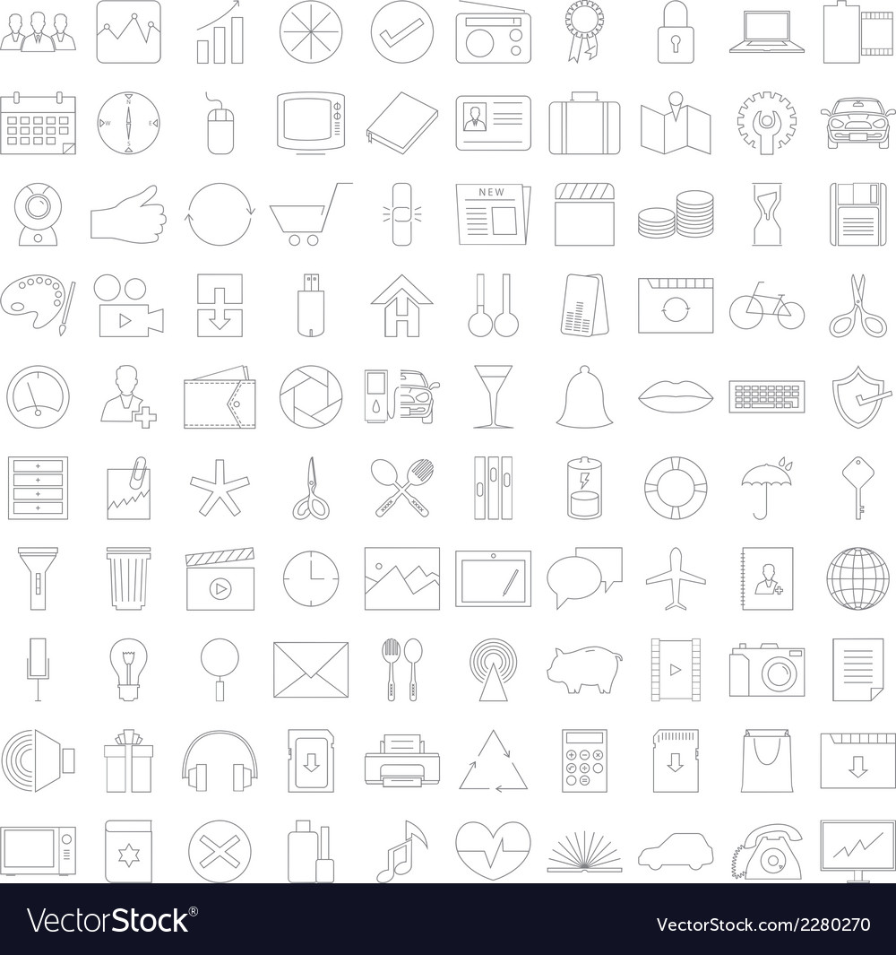 Thin line icons v2 vector | Price: 1 Credit (USD $1)