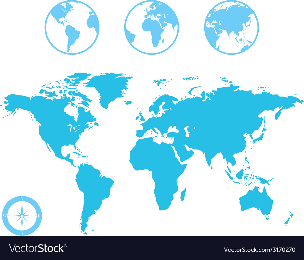 World map and globe icons vector | Price: 1 Credit (USD $1)