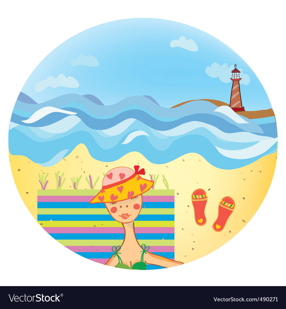 Beach girl illustration vector | Price: 1 Credit (USD $1)
