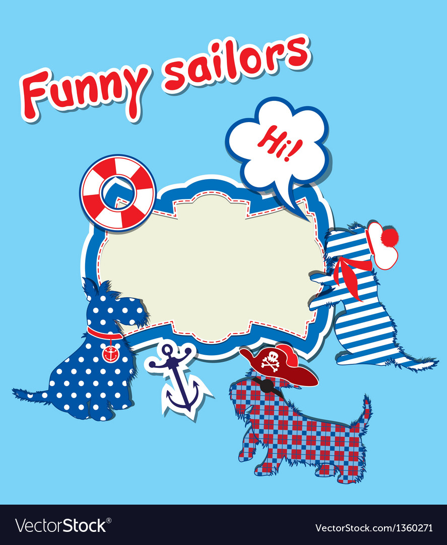Card with funny scottish terrier dogs - sailors vector | Price: 1 Credit (USD $1)