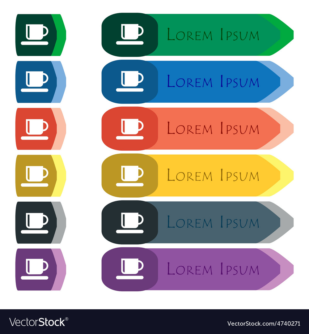 Coffee cup icon sign set of colorful bright long vector | Price: 1 Credit (USD $1)