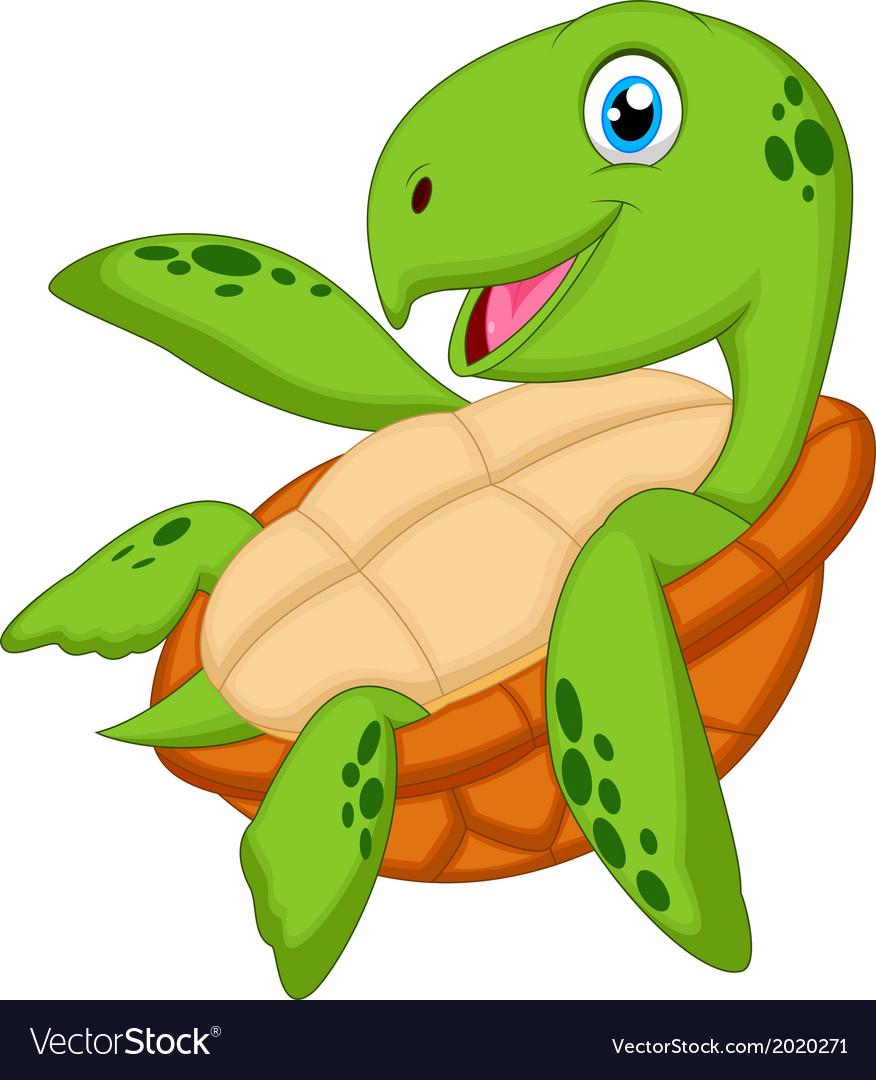 Cute sea turtle cartoon vector | Price: 1 Credit (USD $1)