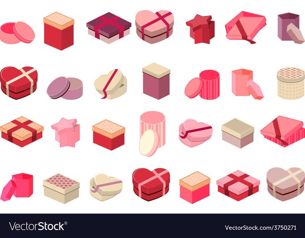 Different gift boxes isolated on white vector | Price: 1 Credit (USD $1)