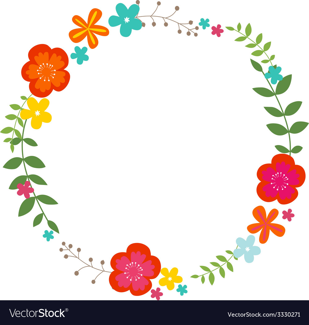 Floral summer wreath vector | Price: 1 Credit (USD $1)