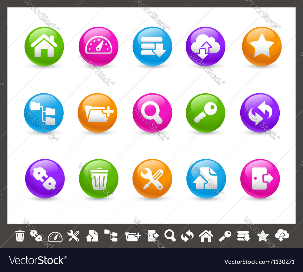 Ftp and hosting icons rainbow series vector | Price: 1 Credit (USD $1)