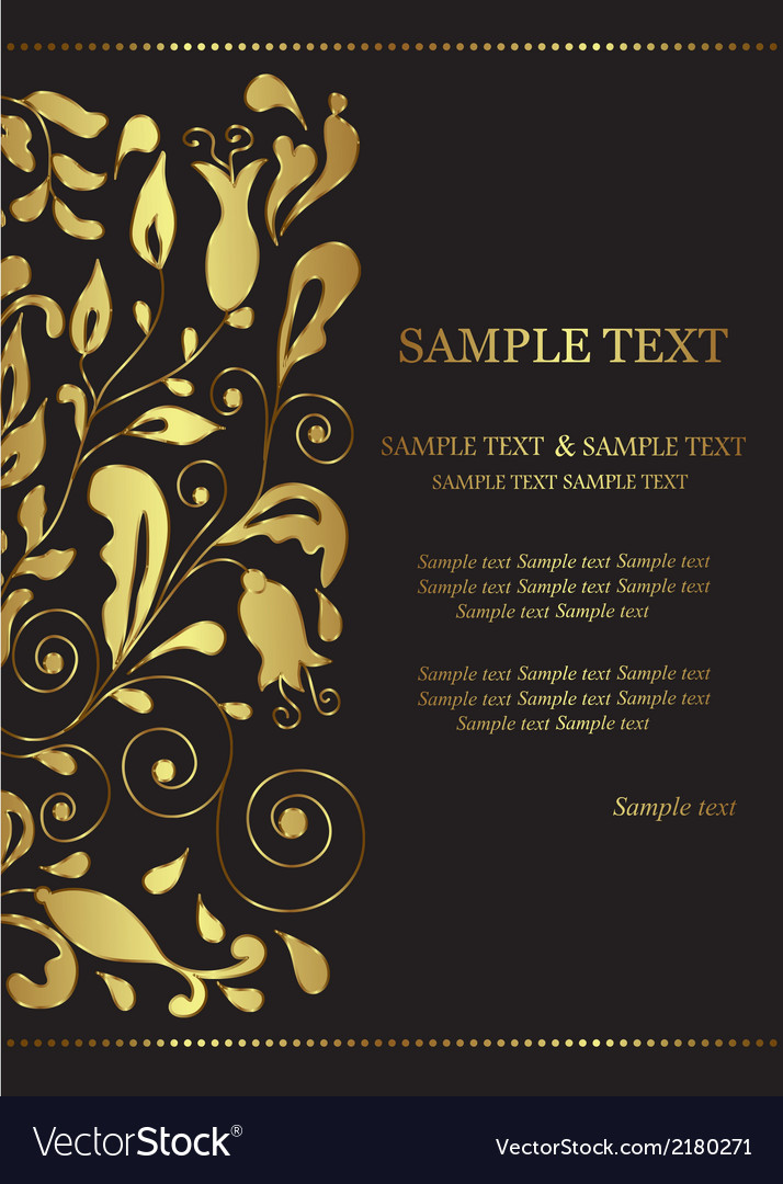 Invitation card with golden floral element vector | Price: 1 Credit (USD $1)