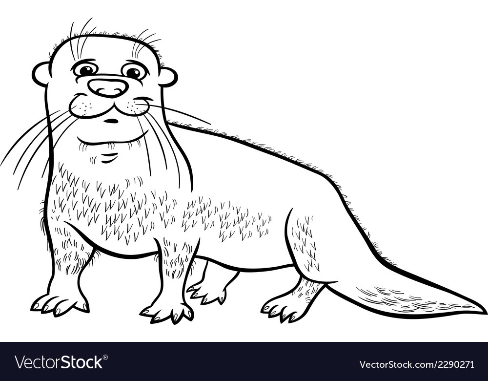 Otter animal cartoon coloring page vector | Price: 1 Credit (USD $1)