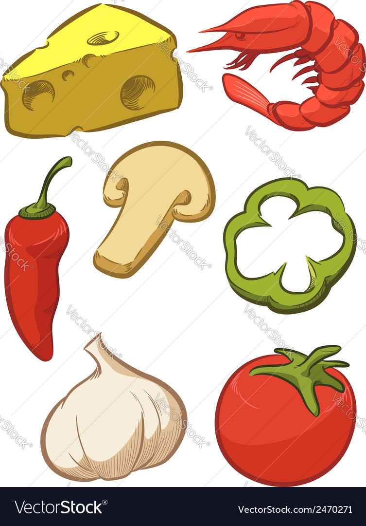 Pizza ingredient tomato cheese pepper onion vector | Price: 1 Credit (USD $1)