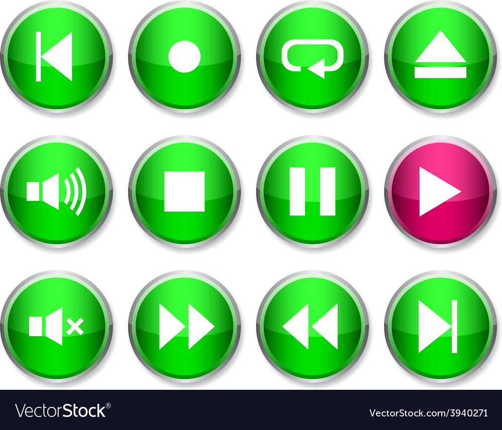 Player round icons vector | Price: 1 Credit (USD $1)