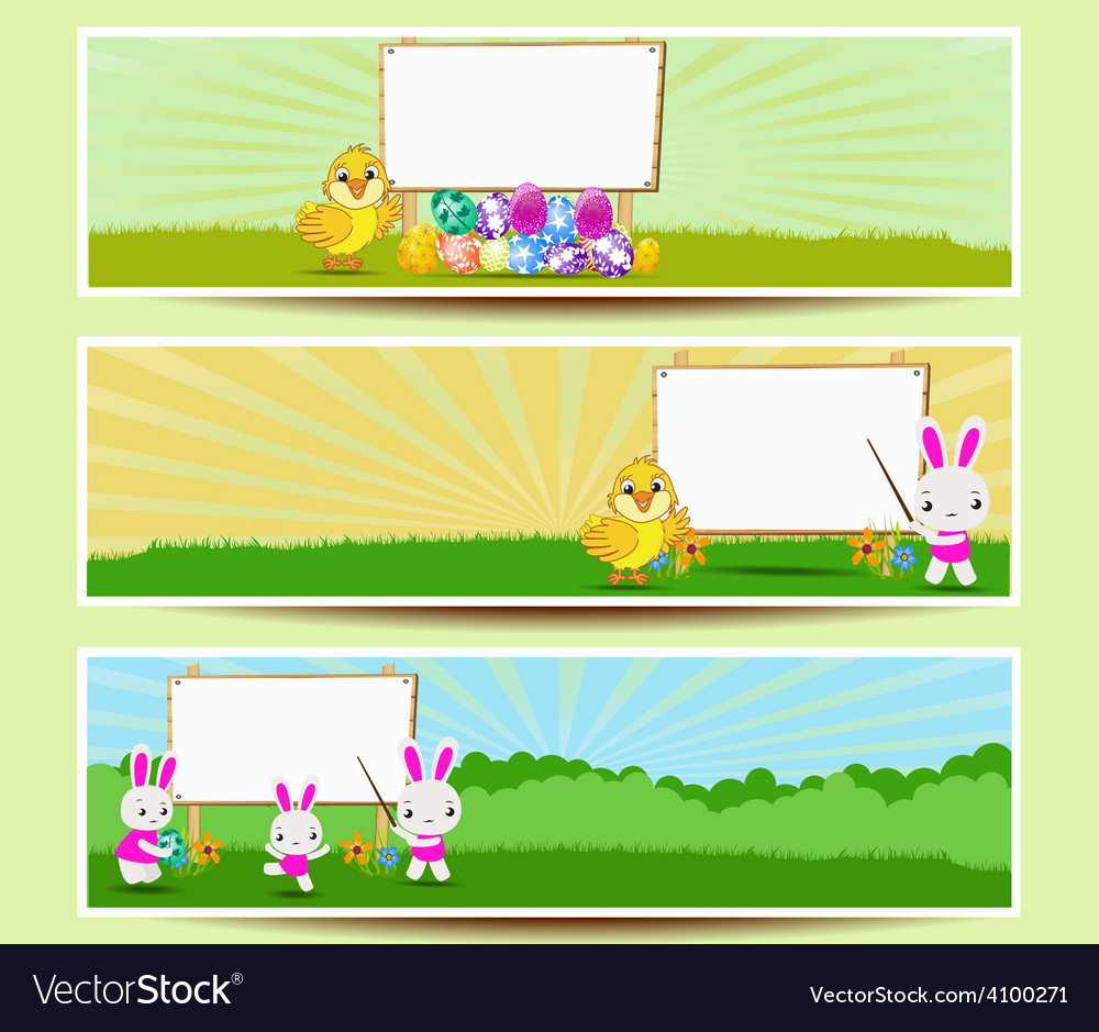 Set of three easter banners vector