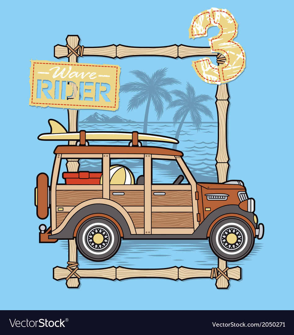 Surfing car vector