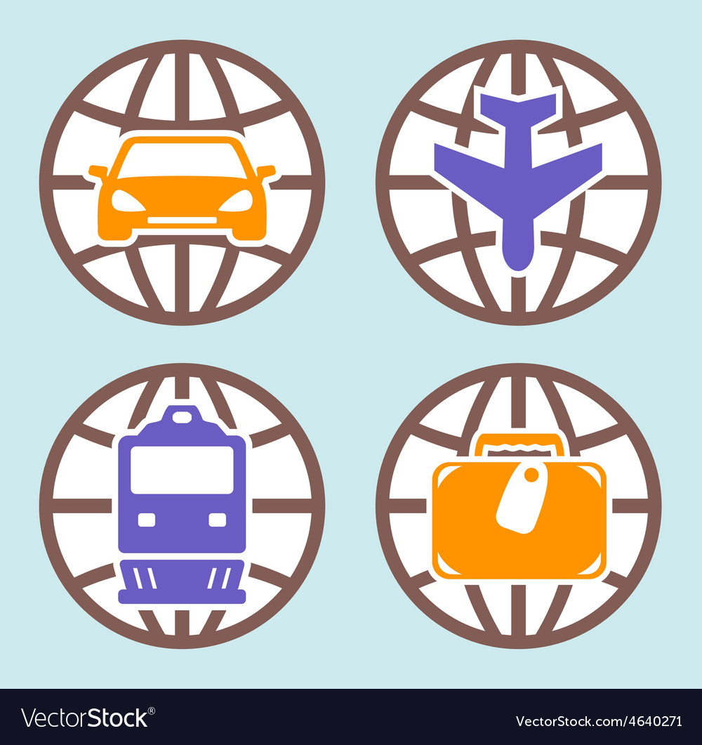 Travel isolated icons set vector | Price: 1 Credit (USD $1)