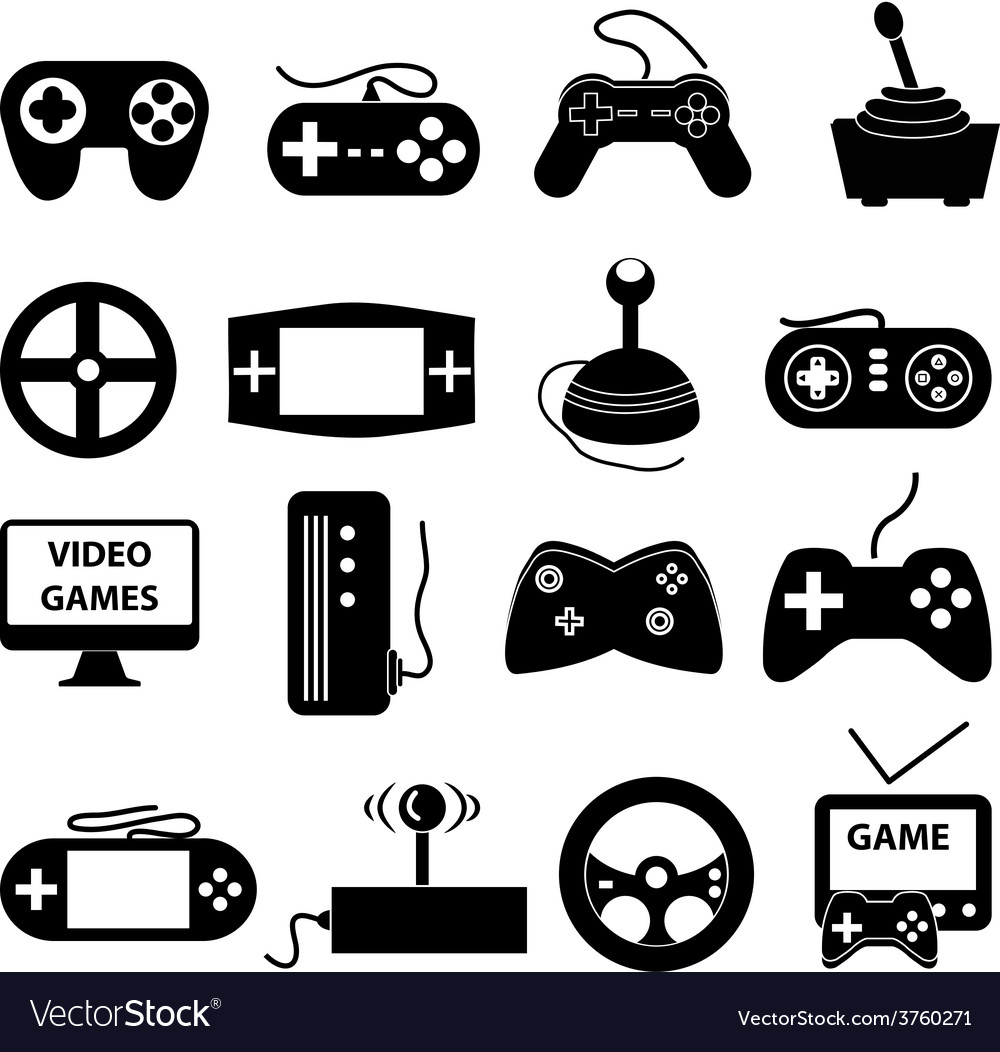 Video games icons set vector | Price: 1 Credit (USD $1)