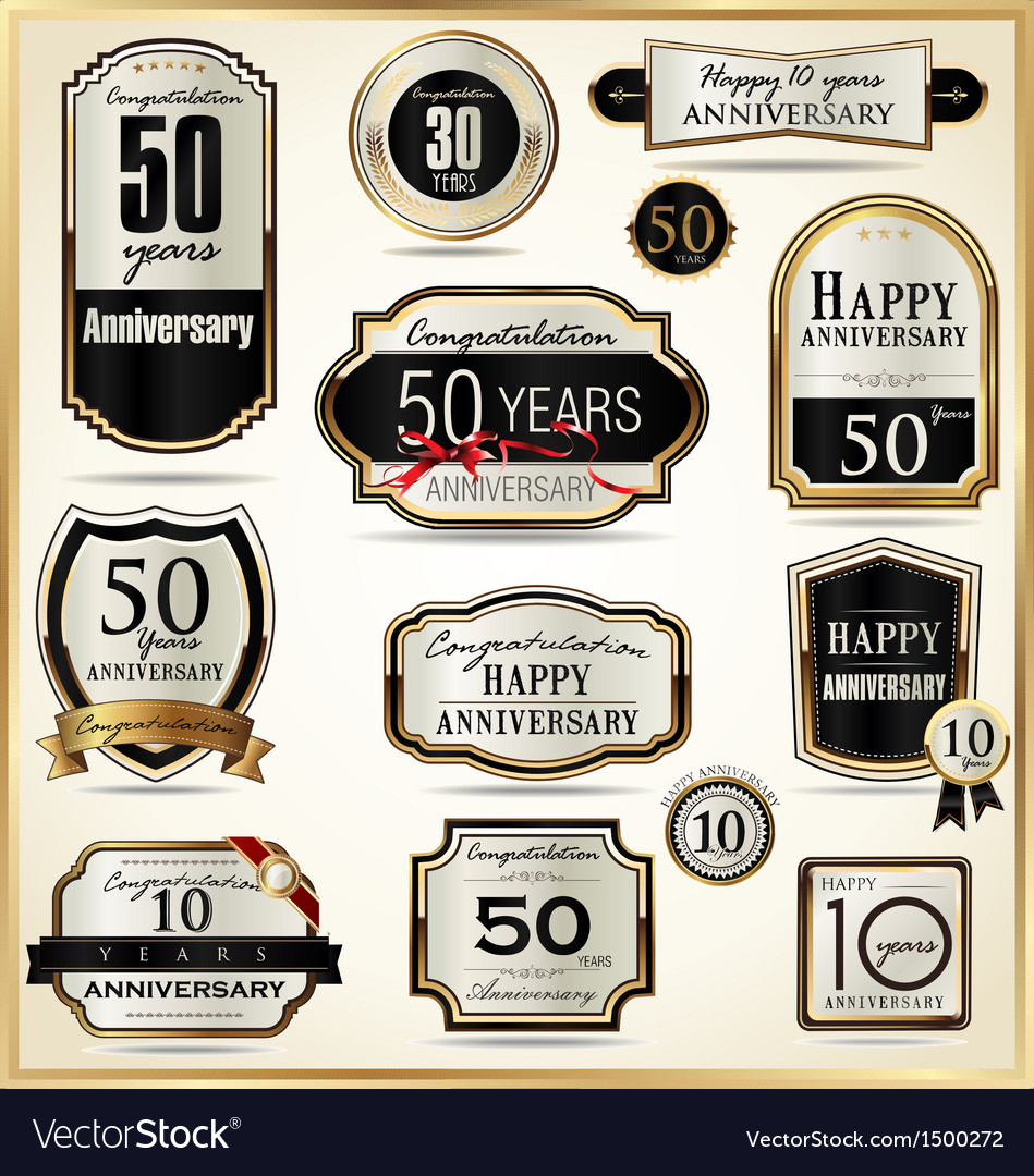Anniversary luxury labels vector | Price: 1 Credit (USD $1)