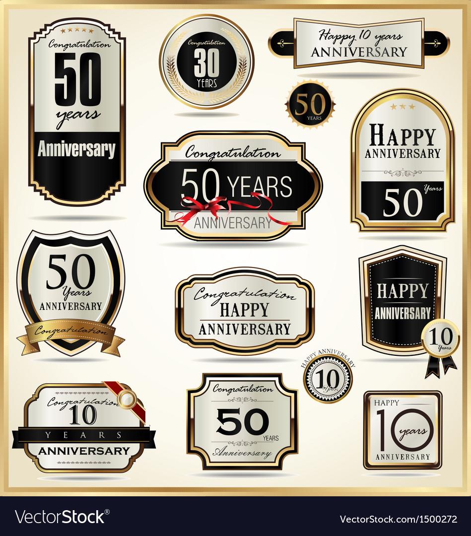 Anniversary luxury labels vector | Price: 1 Credit (USD $1)