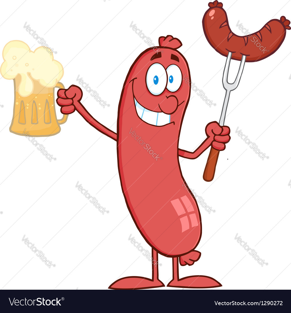 Cartoon character standing sausage holding beer vector | Price: 1 Credit (USD $1)