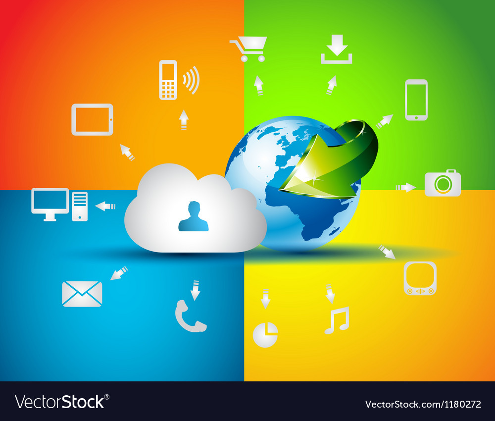 Cloud computing concept background vector | Price: 1 Credit (USD $1)