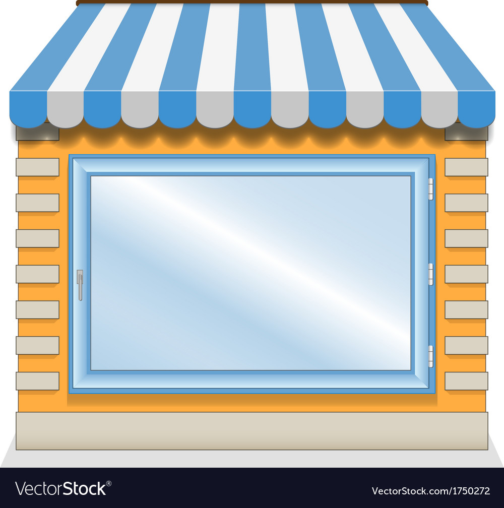 Cute shop icon with blue awnings vector | Price: 1 Credit (USD $1)