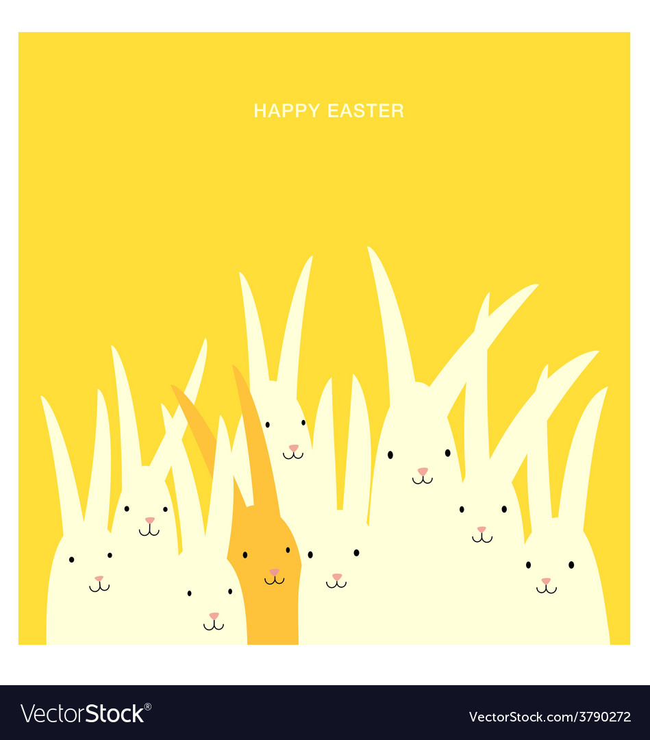 Easter greeting card design with bunnies vector | Price: 1 Credit (USD $1)