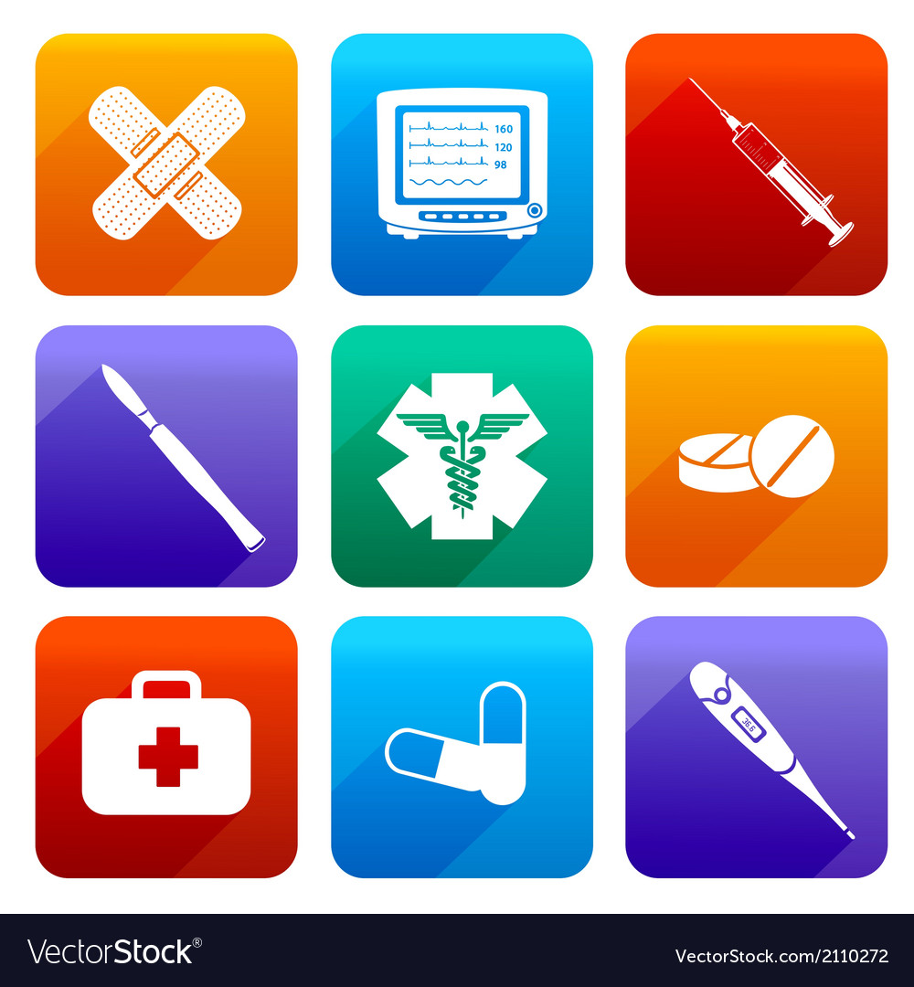 Flat medical icons vector | Price: 1 Credit (USD $1)